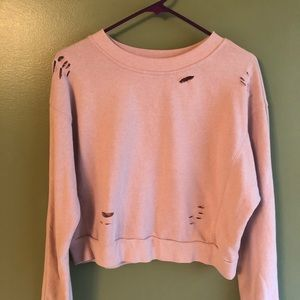 Rue21 Pink Cropped Crewneck Medium